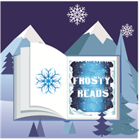 winter mountains with open saying book frosty reads